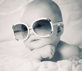 funny baby in sunglasses