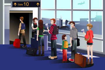 People boarding the airplane at the gate