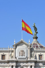 Flag of Spain on the building in Barcelona