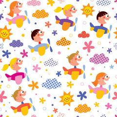 Kids in airplanes pattern
