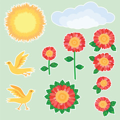 Flowers and birds. Vector set