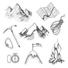 Mountain climbing camping icons