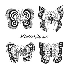 Butterflies decorative icons set