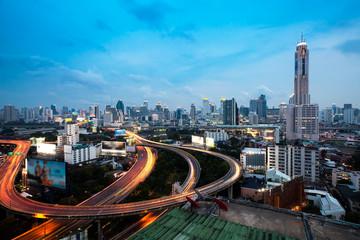 Bangkok Highway at Dusk with skyline in Thailand