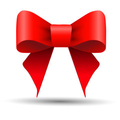Bright red gift bow