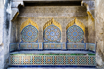 Tiled and carved alcove in Casbah, Tangier
