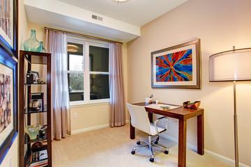 Cozy soft tones office room