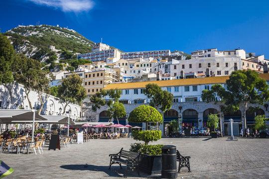 the main street in Gibraltar city,Gibraltar, UK