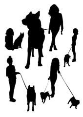 Girl and dog silhouettes