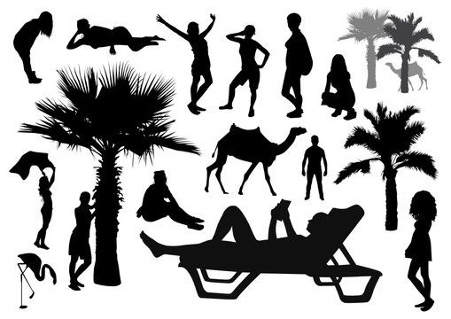 Set of beach silhouettes