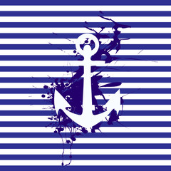 anchor on background splash on striped background