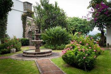 Fountain in a garden, Xochimilco, Mexico City, Mexico