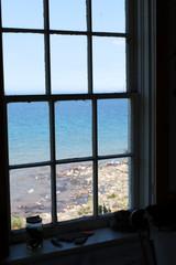 Bay viewed through a window of a house, Georgian Bay, Tobermory,
