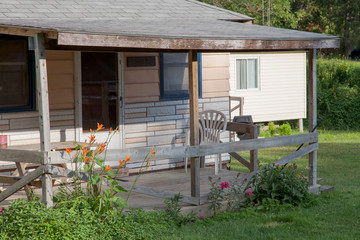 Facade of a log cabin, Tobermory, Ontario, Canada