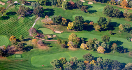Aerial view of a golf course, Alberta, Canada