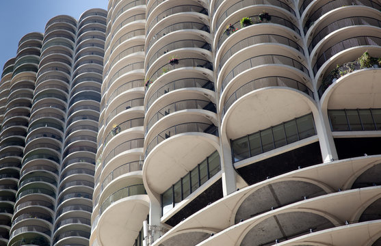 Skyscrapers in a city, Marina City, State Street, Chicago, Cook