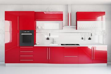 Moderne neue rote Küche