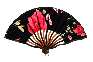 Black chinnese fan with roses
