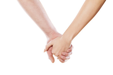 male and female hand holding each other
