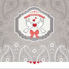 Cute design template.Paisley border lace and cartoon pigeons