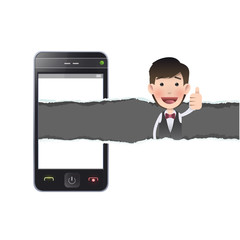 Businessman with realistic phone over white background