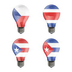 Realistic bulb of Puerto Rico, Cuba, Costa Rica, Czech Republic