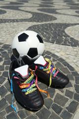 Good Luck Soccer Football Boots Brazilian Wish Ribbons Grass