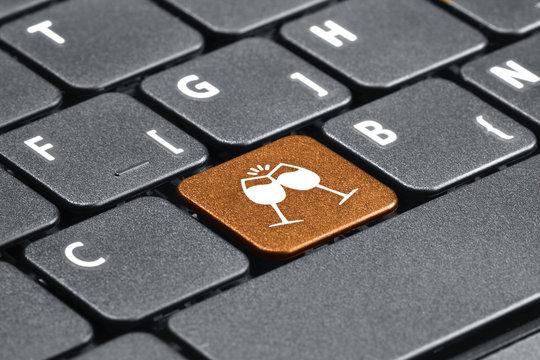 Celebration. Orange hot key on computer keyboard.