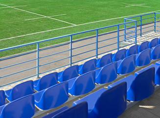 Aluminium Prints Stadion Grandstand stadium and rugby field