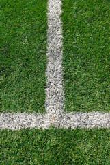 White line markings on the soccer field
