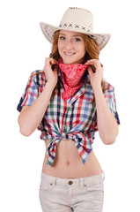 Redhead smiling  cowgirl isolated on white
