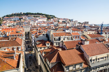 Lisbon view from the lift of Santa Justa, Portugal