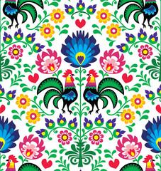 Obraz Seamless traditional floral Polish pattern - Wzory Łowickie - fototapety do salonu