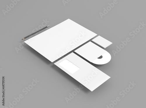 Papier Visitenkarte Brief Mit Stift Schwebend Grau Stock