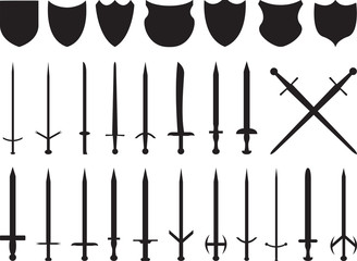 Swords and shields set illustrated on white