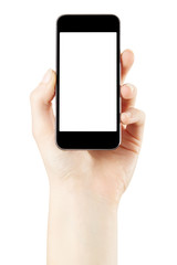 Hand holding smartphone on white, clipping path