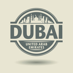 Stamp or label with text Dubai, United Arab Emirates inside