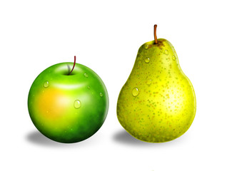 Apple and pear, isolated on white background