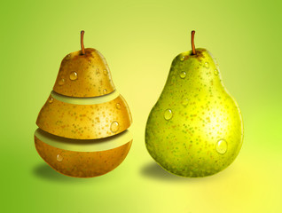 Green and yellow pears, concept for nutrition and health