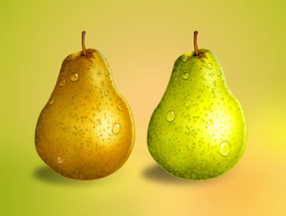 Green and yellow pears, health concept