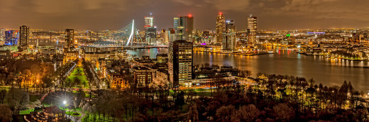 Photo sur Aluminium Rotterdam Erasmusbridge by night