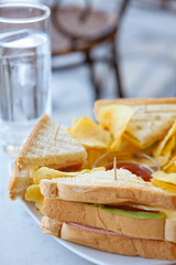 Club Sandwich at a Cafe