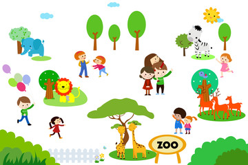A vector illustration of kids to the zoo