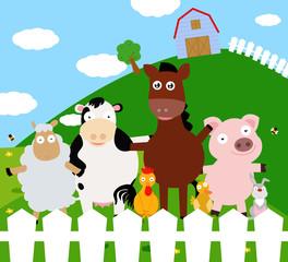 Yard with farm animals