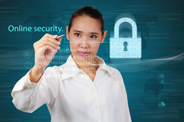 Wall Mural - Business woman showing concept of online business security.