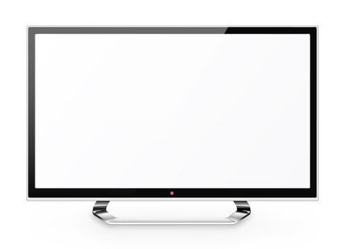 Frontal view of  led or lcd internet tv monitor isolated on whit