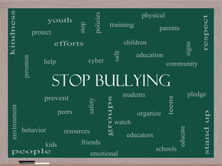 Stop Bullying Word Cloud Concept on a Blackboard
