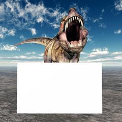 Tyrannosaurus Rex mit Werbeschild