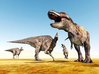Tyrannosaurus Rex and Corythosaurus