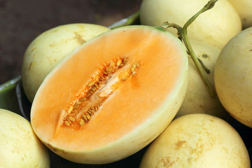 yellow cantaloupe - asia fruit in the market